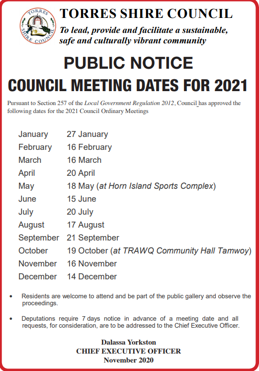 2021 Meeting dates